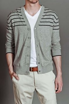 Racked Stripe Cardigan