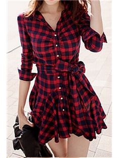 Temperament Red Plaid Long-sleeved Dress