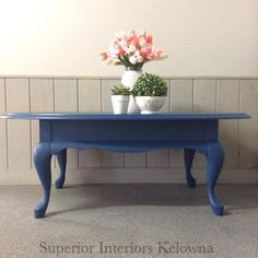 Coffee table makeover using Superior Paint Co. Custom furniture refinishing services by Superior Interiors Kelowna Furniture Refinishing, Chalk Paint Furniture, Custom Furniture, Coffee Table Makeover, Chalk Paint Colors, Decorating Coffee Tables, Color Of The Year, Sapphire, Interiors