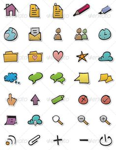 This set of 35 colourful hand-drawn icons is perfect for applications, but you can also use these icons on your computer or website.
