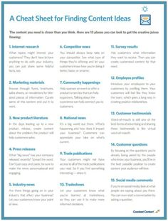 Struggling for Content? Take a Look at this Cheat Sheet for Finding Content Ideas. To learn more about Content Marketing visit the website. Marketing Logo, Digital Marketing Strategy, Mundo Marketing, Marketing Calendar, Marketing Tools, Internet Marketing, Online Marketing, Social Media Marketing, Inbound Marketing