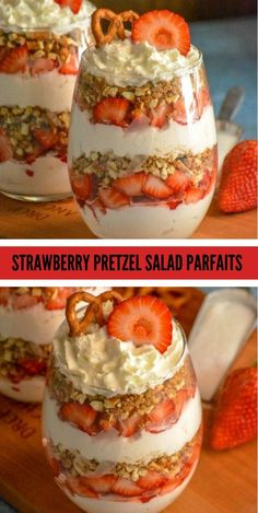 Strawberry Pretzel Salad Parfaits put a creamy new spin on the classic strawberry pretzel salad. Featuring layers of flavor infused freshly whipped cream, buttery cinnamon pretzels, and ripe berries- it's a dessert destined to impress. Strawberry Pretzel Salad, Strawberry Desserts, Summer Desserts, Strawberry Parfait, Strawberry Triffle, Recipes With Strawberries, Pineapple Pretzel Salad, Yogurt Parfait, Strawberry Cheesecake