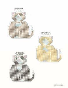 Fat Cats coaster set 4/4 plastic canvas