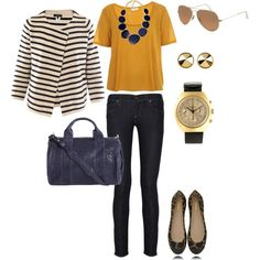 Mustard shirt with black pants and topped with a black and white blazer and black necklace - fall or winter work professional outfit Work Fashion, Cute Fashion, Fashion Looks, Fashion Outfits, Mustard Shirt, Look Office, Casual Outfits, Cute Outfits, Spring Outfits