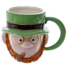Leprechaun Head Ceramic Mug Made from ceramics  Dimensions: Height 10cm Width 14.5cm Depth 10.5cm  Delivery prices available on Checkout