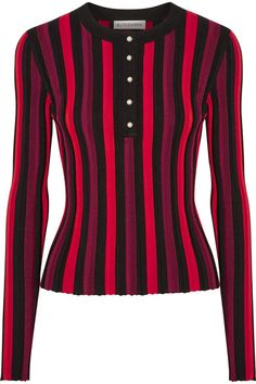 Black, crimson and burgundy stretch-knit Button fastenings along front 81% viscose, 16% polyamide, 3% elastane Dry clean Mother-of-pearl: Japan Imported