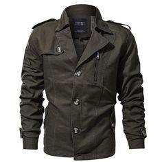 Only US$92.42 shop mens lapel collar spring trench coat military cotton jacket at Banggood.com. Buy fashion coat online. - Banggood Mobile