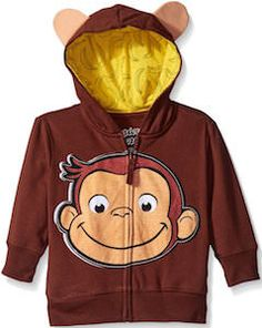 Curious George Face Hoodie For Kids - http://www.thlog.com/curious-george-face-hoodie-kids/