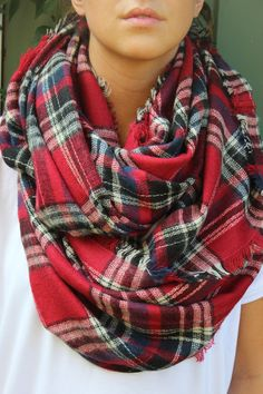 Mad About Plaid Infinity Scarf- Red