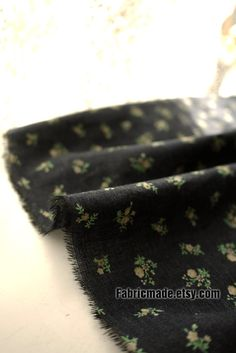 Vintage Style Kimono Fabric Brown Navy Blue Fabric by fabricmade