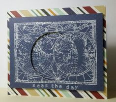 World Stamp with white pigment ink and circle aperture. #global #colorbox #birthday