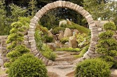 beautiful round stone garden moon gate portal