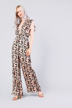 acde55f21d2   Leopard Print Ruffle Jumpsuit by Glamorous - Playsuits   Jumpsuits -  Clothing - Topshop