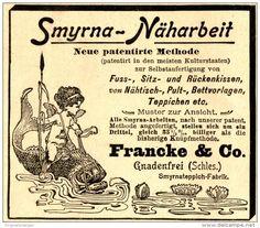 Original-Werbung/ Anzeige 1898 - SMYRNA-ARBEITEN / FRANCKE & CO. GNADENFREI…