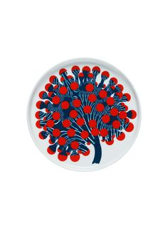 Oiva/Merivuokko -lautanen (valkoinen, punainen, petrooli) |Sisustustuotteet, Keittiö, Posliinit, Lautaset | Marimekko