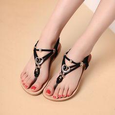 cute fashion 2016 Fashion Women's Bohemian Flat Sandals Diamond Thong Beaded…