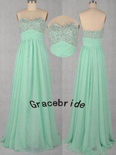 mint chiffon dresses long prom dresses bridesmaid by Gracebride, $138.00