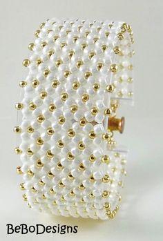 Chenille plana semilla grano pulsera brazalete tejido  blanco