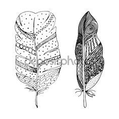 Sada abstraktní peří černé ručně kreslenou doodle stylu. Vektorové ilustrace Eps10 — Stocková ilustrace #97834448