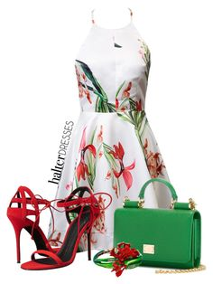 """Untitled #278"" by elenarudometov ❤ liked on Polyvore featuring Dolce&Gabbana, Giuseppe Zanotti, Oscar de la Renta and halterdresses"