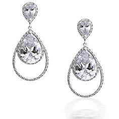 Bling Jewelry Mascara Run Earrings ($29) ❤ liked on Polyvore featuring jewelry, earrings, clear, dangle-earrings, bride jewelry, clear earrings, clear crystal earrings, long chandelier earrings and bridal chandelier earrings