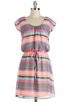 Highlight Up My Life Dress - Mid-length, Multi, Stripes, Belted, Casual, Neon, A-line, Cap Sleeves, Summer