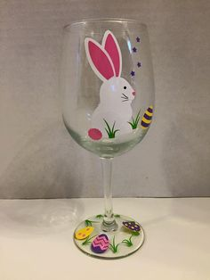 Easter Wine Glass with Easter Bunny and Easter by ClassyDrinkware