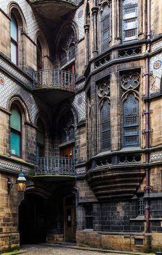 "nomadicvision: ""Gothic Exterior on Flickr. Via Flickr: Detail of the neo-Gothic exterior of the Manchester City Hall. Jon Reid | Portfolio | Blog | Tumblr """