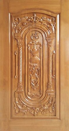 Teak Wood Carving Design Door online India from Indian vendors at RollingLogs. We engaged in manufacturing Burma TeakWood Door in beautiful designs and in al Door Design Wood, Pooja Room Door Design, Wood Carving Designs, Single Main Door Designs, Wooden Door Design, Wood Doors Interior, Door Gate Design, Wood Design, Door Glass Design