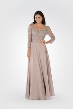 POLY USA - Style 7808 - Mother of the Bride dress. Chiffon and lace dress with sequins.
