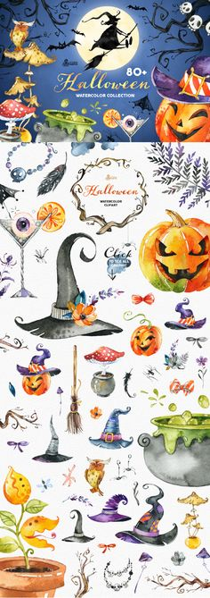 This Big Hallowen Collection of high quality hand painted watercolor Graphic. Included are Witches Hats, Pumpkins, Witch, Broom stick, Mushrooms, Branches, Spyders, Flowers, Wreaths, Bouquets, Bats, Banners and much more. Perfect graphic for DIY projects, cards, invitations, greeting cards, identity, packaging, cases, posters, bags, wallart, logos, quotes, blogs, website, banners and more.