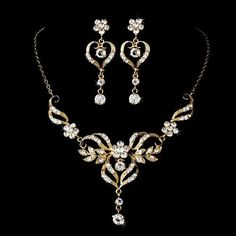 Beautiful Gold Crystal Necklace/ Earrings Jewelry Set at JodezeGifts
