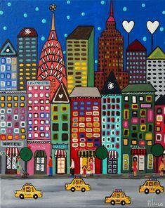 new york Arte Elemental, Pop Art, Art Fantaisiste, Skyline Painting, Building Art, New York Art, Naive Art, City Art, Whimsical Art