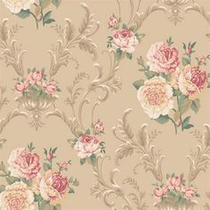 Beige Floral Scrolling Wallpaper