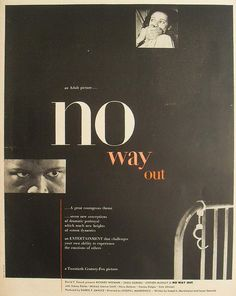 "Movie advertisement, ""No Way Out"", Richard Widmark"