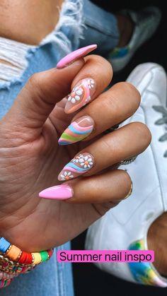 Summer Nails, Spring Nails, Funky Nails, Funky Nail Art, Trendy Nail Art, Cute Nail Art, Acylic Nails, Nail Inspo, Nail Tattoo