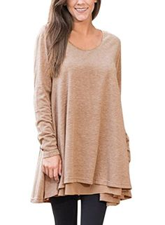 f7728b2ff0c Dokotoo Womens Plus Size Casual Ladies Fall Long Sleeve Layered Swing Tunic  Tops Long Blouse T Shirt For Work Under 10 Brown X-Large     Continue to  the ...