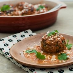 Mexican meatballs featuring a fire-roasted tomato coconut sauce