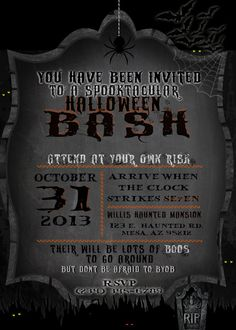 Dark Halloween Party Invitation by 4EVRDesignsBYKristyn on Etsy, $11.00
