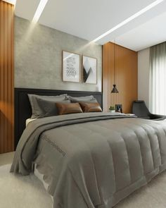 Greyish back with pvc panel is great. Modern Luxury Bedroom, Modern Bedroom Design, Luxurious Bedrooms, Modern Small House Design, Bedroom Design Inspiration, Inside Doors, Family House Plans, New Room, Home Decor Bedroom