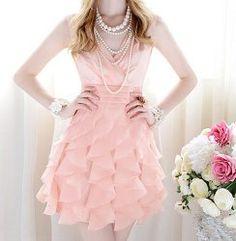 Ladylike Solid Color V-Neck Sleeveless High Waisted Flouncing Women's Dress