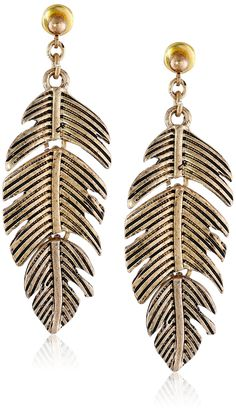 "Steve Madden ""Tropical Punch"" Feather Drop Earrings"