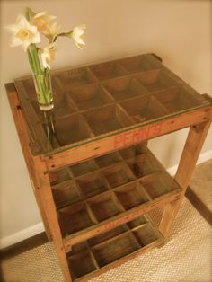 Soda crate table for displaying a rock collection