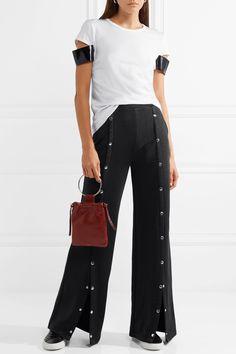 Helmut Lang   Faux patent leather-trimmed Pima cotton-jersey #Tshirt