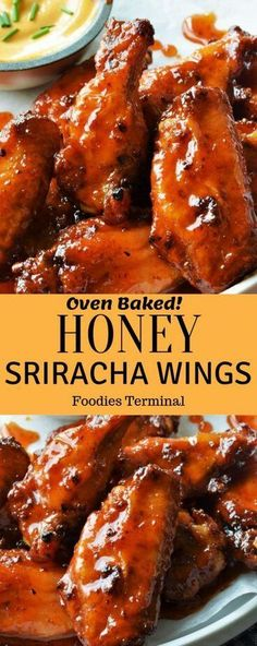 Crispy oven baked Honey Sriracha Chicken Wings is a delicious spicy sweet chicken appetizer that can be whipped up quickly. The no cook saucehoney sriracha is super easy and the whole recipe is a perfect fit to feed a huge crowd. Honey Sriracha Chicken Wings, Marinated Chicken Wings, Sweet And Spicy Chicken, Oven Baked Chicken Wings, Chicken Appetizers, Appetizer Recipes, Whole Foods, Whole Food Recipes, Easy Chicken Recipes
