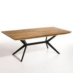 Table sejour ou salon de jardin fer forge et chene   mobilier ...