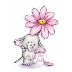 tampon dessin éléphant et grand fleur. wild rose studio
