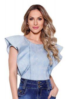 Ethnic Fashion, Women's Fashion, Ideias Fashion, Ruffle Blouse, Denim, Dark, Style, Ruffled Shirt, Jean Blouse