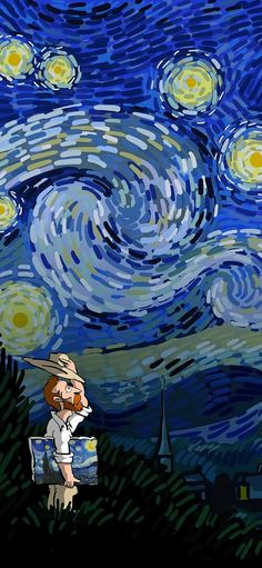 Van Gogh, starry sky, painter, illustration, blue Wallpapers for iPhone11, iPhone11 Pro, iPhone 11 Pro Max - Free Wallpaper   Download Free Wallpapers