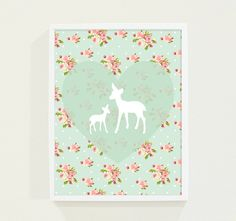 Mint Floral Deer Kids Wall Art, would be adorable in a little girls room!